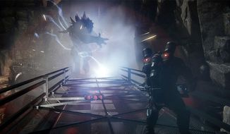 Warriors hunt a monster in the video game Evolve.