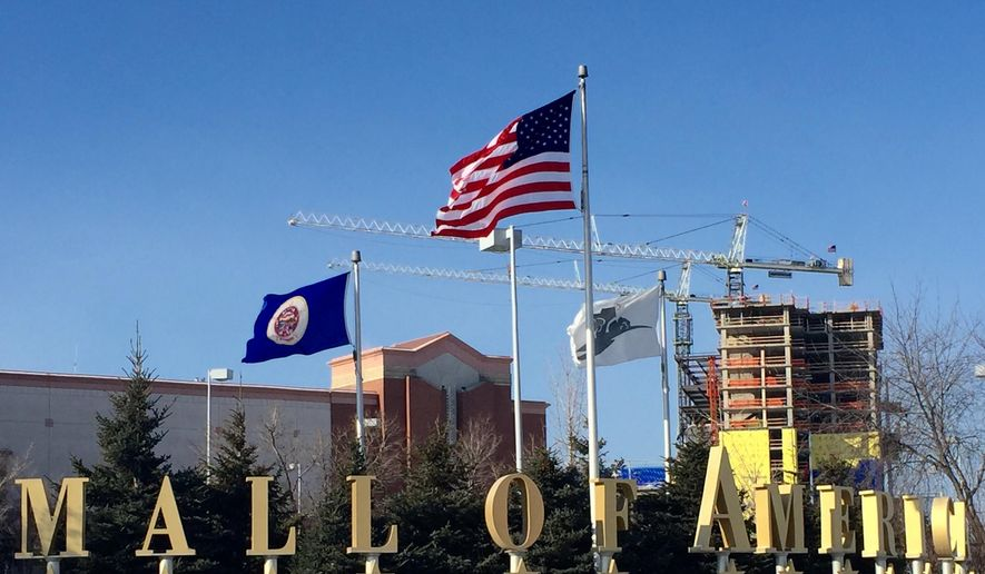 A Sunday, Feb. 22, 2015 photo shows the exterior of the Mall of America in Bloomington, Minn. (AP Photo/Star Tribune, Jerry Holt)