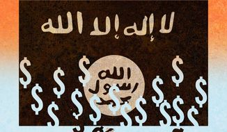 Illustration on attacking ISIS's finances by Alexander Hunter/The Washington Times