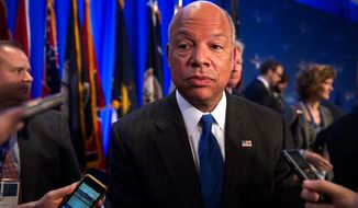 "Homeland Security Secretary Jeh Johnson, who held a press conference to highlight other dangers of letting the department's funding to lapse, said ""The clock is ticking."" (Associated Press)"