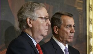 Senate Majority Leader Mitch McConnell and House Speaker John A. Boehner have tussled with their right flank over how best to advance a conservative agenda at the Capitol. (Associated Press) **FILE**
