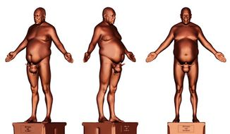 Rodman Edwards, a 15-year-old artist, has proposed building a bronze sculpture of a life-sized nude Bill Cosby in an effort to highlight sex abuse awareness. (Cory Allen Contemporary Art)