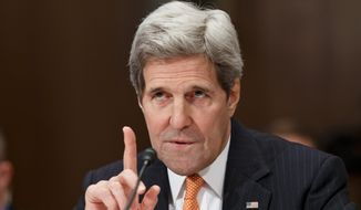 "Saying ""Iran will not get a nuclear weapon,"" Secretary of State John F. Kerry defended the Obama administration's negotiations with Iran. He testified that U.S. policy is to prevent such a scenario. (Associated Press)"