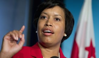 D.C. Mayor-elect Muriel Bowser speaks to reporters during a news conference at the National Press Club in Washington on Nov. 5, 2014, a day after being elected mayor. (Associated Press) **FILE**