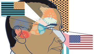 Illustration on Obama's attitude toward America by Linas Garsys/The Washington Times