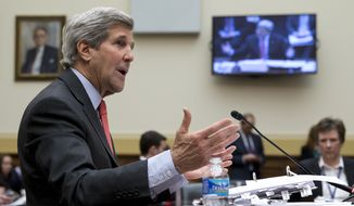 Secretary of State John Kerry testifies on Capitol Hill in Washington, Wednesday, Feb. 25, 2015, before the House Foreign Affairs Committee. Kerry has implored skeptical senators not to criticize nuclear negotiations with Iran before a deal can be crafted, but he's certain to get another round of questions about the sensitive talks from members of the House. (AP Photo/Carolyn Kaster)