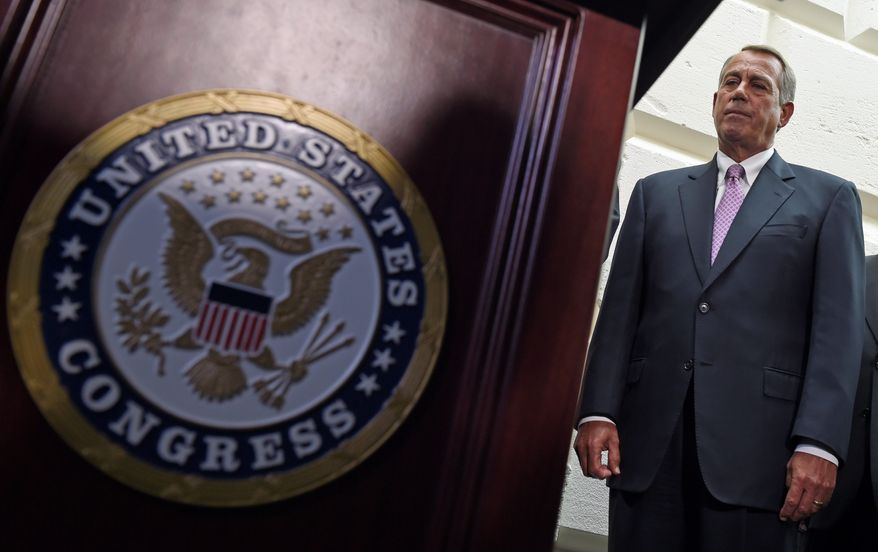 House Speaker John A. Boehner told fellow Republicans in a closed-door meeting that keeping the Homeland Security Department open with a three-week funding bill would strengthen their bargaining position, according to lawmakers in attendance. (Associated Press photographs)