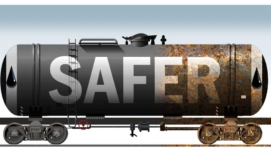 Illustration on safety improvements to oil rail transport by Alexander Hunter/The Washington Times