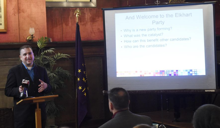 ADVANCE FOR SUNDAY MAR. 1 AND THEREAFTER - In a Saturday, Feb. 7, 2015 photo, Jason Moreno announces his election bid for an Elkhart City Council at-large seat at Ruthmere Mansion in Elkhart, Ind. Moreno also announced a new political party called the Elkhart Party. A new political group taking shape here, the Elkhart Party aims to shake things up in city politics. (AP Photo/The Elkhart Truth, J. Tyler Klassen)