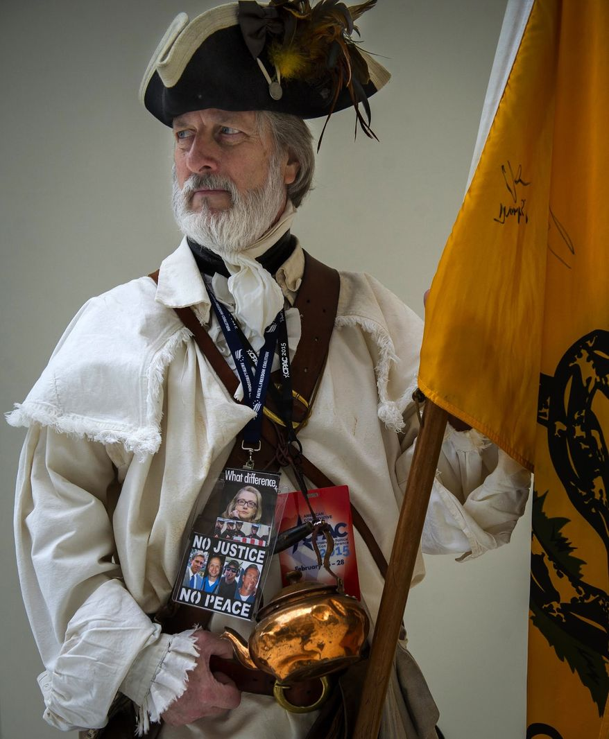 Golden Isles Tea Party member William Temple, of Brunswick, Ga., takes a moment for a portrait on the first day of the 2015 Conservative Political Action Conference (CPAC) at the Gaylord National Resort and Convention Center in National Harbor, Md., Wednesday, Feb. 25, 2015. This event, which is billed as the nation's largest gathering of conservatives, runs Feb. 25-28, 2015. (Photo by Rod Lamkey Jr. for The Washington Times)