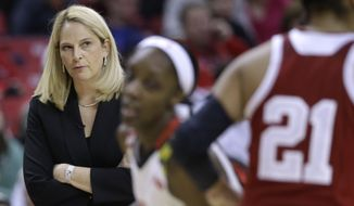 Maryland head coach Brenda Frese watches action in the second half of an NCAA college basketball game against Indiana, Thursday, Feb. 26, 2015, in College Park, Md. Maryland won 83-72. (AP Photo/Patrick Semansky)