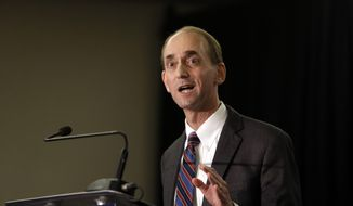 """Missouri Auditor Tom Schweich announces his candidacy for governor in St. Louis in this Jan. 28, 2015, file photo. He fatally shot himself in what police described as an """"apparent suicide,"""" minutes after inviting reporters to his suburban St. Louis home for an interview. (AP Photo/Jeff Roberson, File)"""