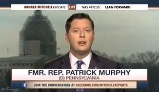 Former Pennsylvania Democratic Rep. Patrick Murphy lamented Wednesday that 27-year-old Eddie Ray Routh will spend the rest of his life in prison for the murders of Navy SEAL Chris Kyle and Chad Littlefield. (MSNBC via The Daily Caller)