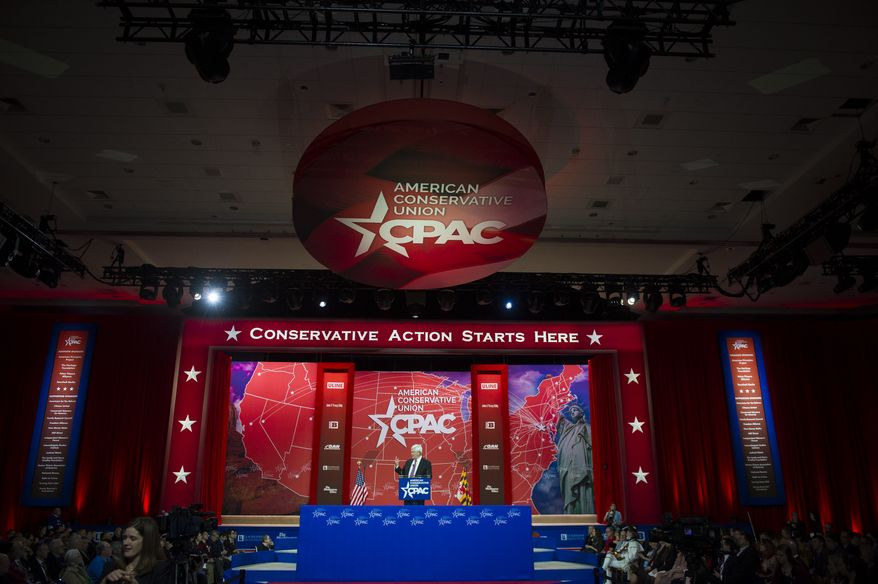 Former House Speaker and Republican presidential candidate Newt Gingrich delivers his speech to the crowd on the third day of the 2015 Conservative Political Action Conference (CPAC) at the Gaylord National Resort and Convention Center in National Harbor, Md., Friday, February 27, 2015. This event, which is billed as the nation's largest gathering of conservatives, runs February 25-28, 2015. (Photo by Rod Lamkey Jr. for The Washington Times)
