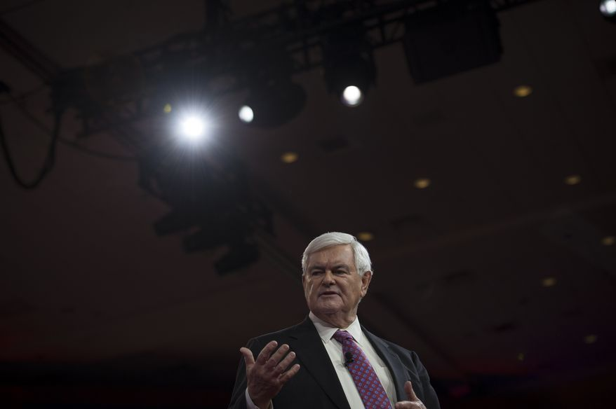 "[u""Former House Speaker and Republican presidential candidate Newt Gingrich delivers his speech to the crowd on the third day of the 2015 Conservative Political Action Conference (CPAC) at the Gaylord National Resort and Convention Center in National Harbor, Md., Friday, February 27, 2015. This event, which is billed as the nation's largest gathering of conservatives, runs February 25-28, 2015. (Photo by Rod Lamkey Jr. for The Washington Times)"", u""Former House Speaker and Republican presidential candidate Newt Gingrich responds to questions from a moderator on the third day of the 2015 Conservative Political Action Conference (CPAC) at the Gaylord National Resort and Convention Center in National Harbor, Md., Friday, February 27, 2015. This event, which is billed as the nation's largest gathering of conservatives, runs February 25-28, 2015. (Photo by Rod Lamkey Jr. for The Washington Times)""]"