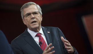 Jeb Bush addresses an audience on the third day of the 2015 Conservative Political Action Conference (CPAC) at the Gaylord National Resort and Convention Center in National Harbor, Md., on Friday, Feb. 27, 2015. The four-day event is billed as the nation's largest gathering of conservatives. (Rod Lamkey Jr./The Washington Times)""