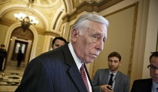 House Minority Whip Steny Hoyer, Maryland Democrat, leaves the chamber at the U.S. Capitol on Feb. 27, 2015. (Associated Press) ** FILE **