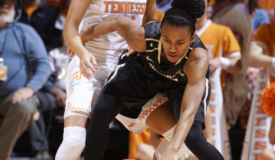 Vanderbilt's Paris Kea (41) keeps control of the ball as Tennessee's Andraya Carter (14) applies pressure in the first half of an NCAA college basketball game, Sunday, March 1, 2015, in Knoxville, Tenn. (AP Photo/Patrick Murphy-Racey)