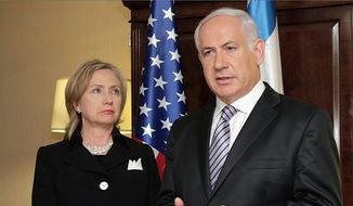 Benjamin Netanyahu and Hillary Clinton will both be in Washington on Tuesday. They are shown here during a diplomatic moment in 2010, when Mrs. Clinton was still Secretary of State. (Associated Press)