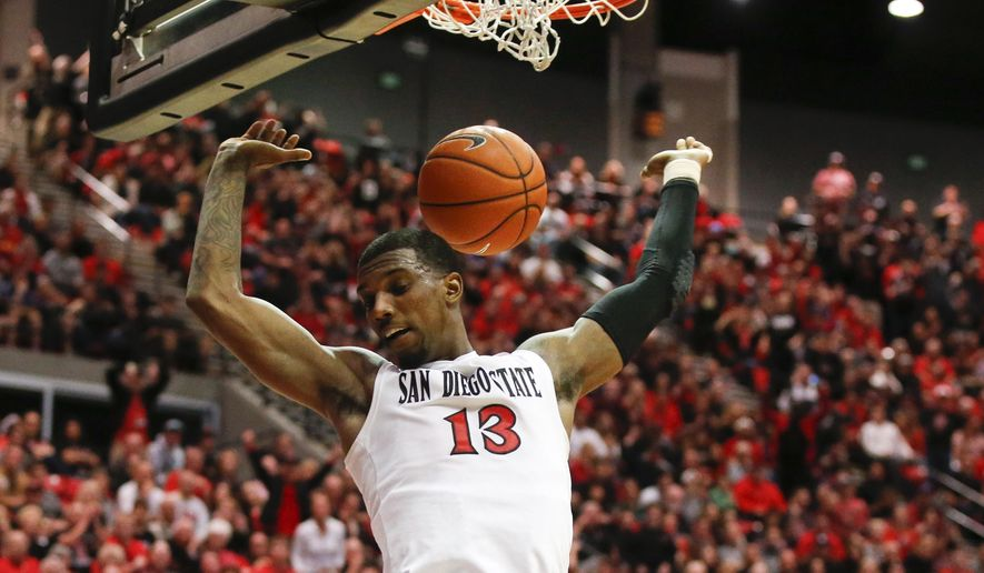 San Diego State forward Winston Shepard does a bit of early celebrating after dunking against Boise State during the second half of an NCAA basketball game won by Boise State 56-46 Saturday, Feb. 28, 2015, in San Diego. Boise State trailed by as many as 9 points in the game.   (AP Photo/Lenny Ignelzi)