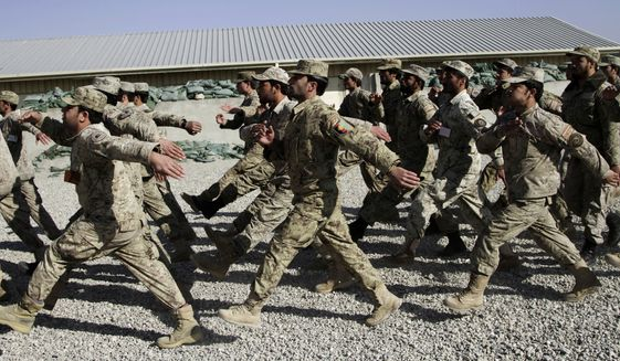 Afghan National Police officers march during a graduation ceremony at a training center in Jalalabad, Afghanistan. (Associated Press)