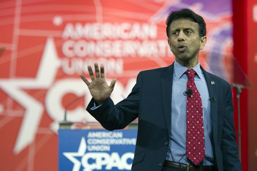 """""""We object to Common Core because the federal government has no right imposing curriculum, imposing content standards in local classrooms when these decisions have always been made by local parents, by teachers, by local leaders,"""" Louisiana Gov. Bobby Jindal told the CPAC conventiongoers, sparking applause from the crowd. (Associated Press)"""