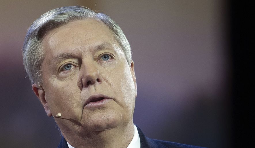 Senator Lindsey Graham, R-S.C., speaks at the American Israel Public Affairs Committee (AIPAC) Policy Conference in Washington, Sunday, March 1, 2015. (AP Photo/Cliff Owen)