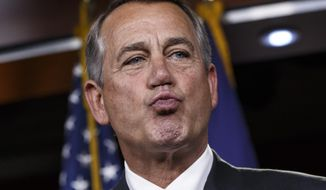 House Speaker John Boehner of Ohio responds to reporters about the impasse over passing the Homeland Security budget because of Republican efforts to block President Obama's executive actions on immigration, Thursday, Feb. 26, 2015, during a news conference on Capitol Hill in Washington.   (AP Photo/J. Scott Applewhite)