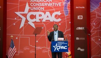 Ben Carson delivered a well-received speech kicking off the 2015 Conservative Political Action Conference over the weekend and he finished fourth in The Washington Times/CPAC straw poll, dropping a rung from his third-place finish third last year. (Rod Lamkey Jr./Special to The Washington Times)