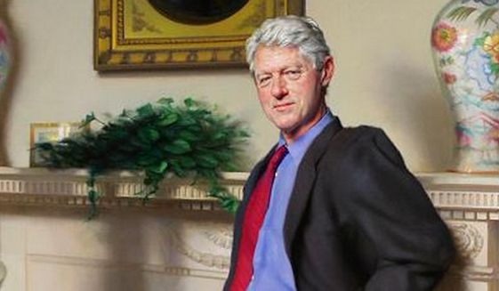 Philadelphia area painter Nelson Shanks revealed in a recent interview that he included a shadow of Monica Lewinsky's infamous dress in the official Bill Clinton painting that hangs in the Smithsonian's National Portrait Gallery. (National Portrait Gallery)