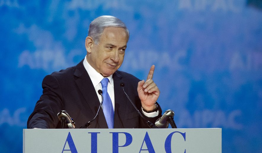 Israeli Prime Minister Benjamin Netanyahu addresses the 2015 American Israel Public Affairs Committee (AIPAC) Policy Conference in Washington, Monday, March 2, 2015. (AP Photo/Cliff Owen)
