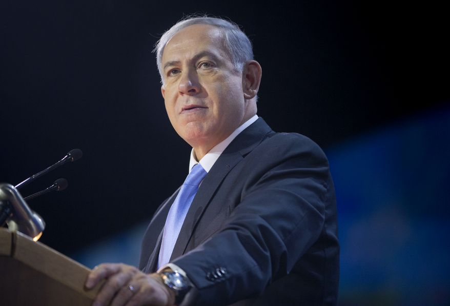 Israeli Prime Minister Benjamin Netanyahu speaks at the American Israel Public Affairs Committee (AIPAC) Policy Conference in Washington, Monday, March 2, 2015. (AP Photo/Pablo Martinez Monsivais) ** FILE **