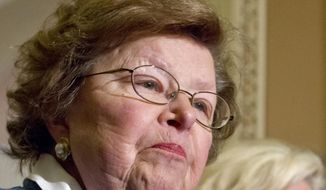 Senate Appropriations Committee Chair Barbara Mikulski, Maryland Democrat, speaks during a news conference on Capitol Hill in Washington on June 5, 2012. (Associated Press) **FILE**