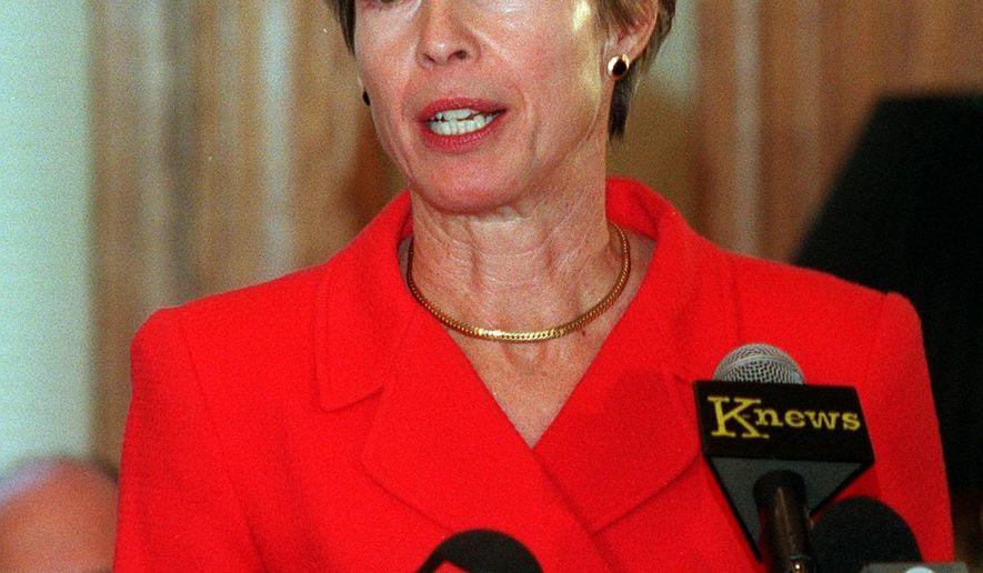 In a Jan. 11, 1999 photo, Salt Lake City Mayor Deedee Corradini announces she will not run for reelection during a press conference in Salt Lake City. Corradini, the only female mayor in the history of Salt Lake City who helped bring the Winter Olympics to Utah, died Sunday, March 1, 2015, at her home in Park City from the effects of lung cancer, according to a Women's Ski Jumping USA news release. She was 70. (AP Photo/The Salt Lake Tribune, File)