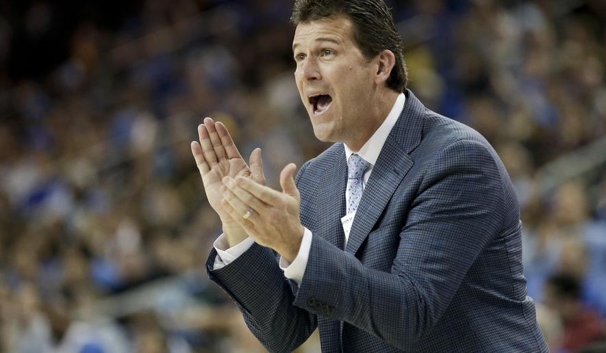 UCLA coach Steve Alford yells to his team during the second half of an NCAA college basketball game against Washington State in Los Angeles, Sunday, March 1, 2015. UCLA won 72-67. (AP Photo/Chris Carlson)