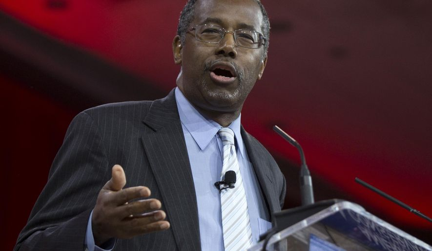 FILE - In this Feb. 26, 2015 file photo, Ben Carson speaks in National Harbor, Md. Carson has created an exploratory committee to run for president, becoming the first high-profile Republican candidate to formally enter the 2016 presidential contest.  (AP Photo/Carolyn Kaster, File)