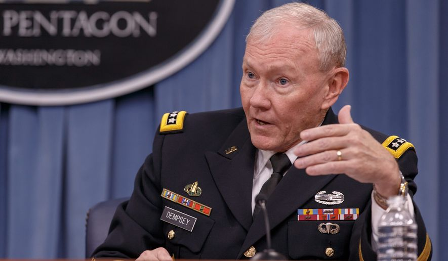 At a Senate hearing Tuesday, Joint Chiefs Chairman Gen. Martin Dempsey asked Congress to end sequestration and boost defense spending by $38 billion next year. (Associated Press)