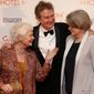 """Judi Dench (left) and Maggie Smith joined Director John Madden in London for the world premiere of """"The Second Best Exotic Marigold Hotel,"""" a funny look at old age. (Associated Press)"""