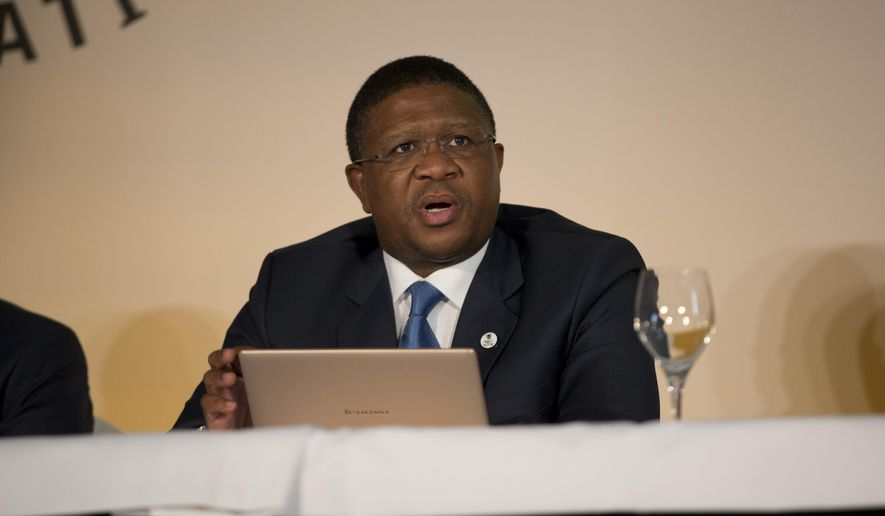 South Africa's Minister of Sport and Recreation Fikile Mbalula speaks during the formal bid presentation from the South African city of Durban to host the 2022 Commonwealth Games at Mansion House in London, Monday, March 2, 2015.  (AP Photo/Matt Dunham)