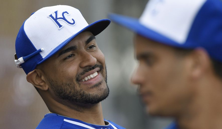 Kansas City Royals Christian Colon looks on during baseball spring training, Sunday, March 1, 2015 in Surprise, Ariz. (AP Photo/The Kansas City Star, John Sleezer)