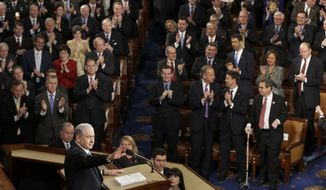 """Israeli Prime Minister Benjamin Netanyahu speaks before a joint meeting of Congress on Capitol Hill in Washington, Tuesday, March 3, 2015. In a speech that stirred political intrigue in two countries, Netanyahu told Congress that negotiations underway between Iran and the U.S. would """"all but guarantee"""" that Tehran will get nuclear weapons, a step that the world must avoid at all costs. (AP Photo/J. Scott Applewhite)"""
