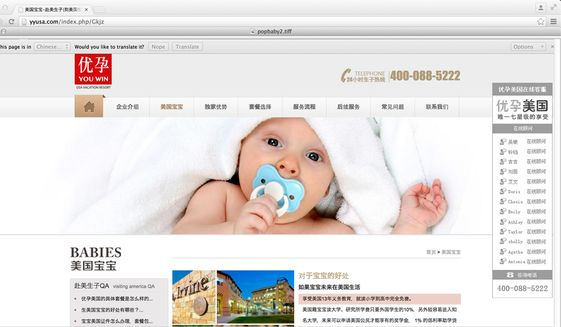 This is a computer screen image of a website that advertises the services of a U.S. company that caters to women from China who want to give birth in the United States. Federal agents searched more than a dozen homes in a crackdown on Tuesday, March 3, 2015, on an industry that helps pregnant Chinese women travel to the U.S. to give birth to American babies. The crackdown on three alleged maternity tourism rings may be the biggest yet by federal homeland security agents. (AP Photo/yyusa.com)