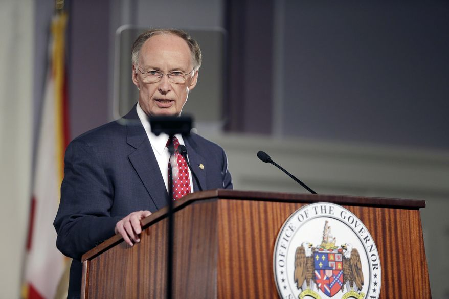Alabama Gov. Robert Bentley speaks during the annual State of the State address at the Capitol in Montgomery on March 3, 2015. (Associated Press) **FILE**