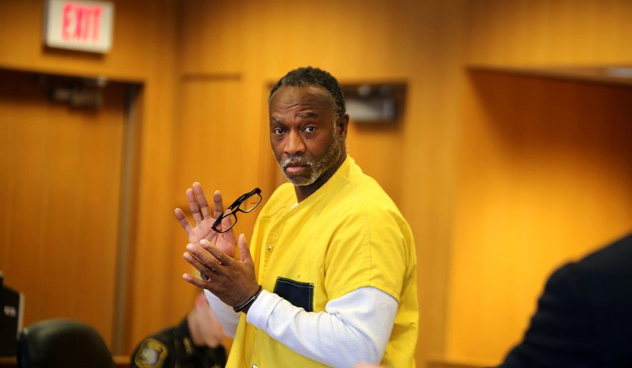 Andrew Jackson is brought into the courtroom of Judge Michael Wagner at the Frank Murphy Hall of Justice for his preliminary exam Tuesday, March 3, 2015, in Detroit. Jackson is accused of car-jacking a woman, but was beaten by police during the arrest and it was caught on video and circulated. (AP Photo/Detroit Free Press, Regina H. Boone )  DETROIT NEWS OUT; TV OUT; MAGS OUT; NO SALES; MANDATORY CREDIT DETROIT FREE PRESS