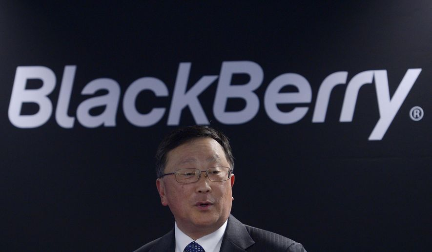 Blackberry's Executive Chairman and CEO John Chen speaks during a presentation at the Mobile World Congress wireless show in Barcelona, Spain, Tuesday, March 3, 2015. (AP Photo/Manu Fernandez)