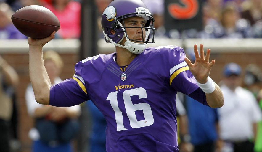 FILE - In this Sept. 14, 2014, file photo, Minnesota Vikings quarterback Matt Cassel throws during the fourth quarter of an NFL football game against the New England Patriots in Minneapolis. The Vikings and the Buffalo Bills have agreed on a trade that will send quarterback Matt Cassel to the Bills next week and fetch the Vikings extra draft picks. Both teams announced the deal on Wednesday, March 4, 2015, which will send two undisclosed draft choices to the Vikings and one undisclosed draft pick with Cassel to the Bills, six days before NFL transactions can begin with the start of the new league year. (AP Photo/Ann Heisenfelt, File)