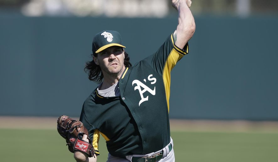 FILE - In this Wednesday, Feb. 25, 2015, file photo, Oakland Athletics' Barry Zito throws during baseball spring training in Mesa, Ariz. Zito, who took last year off, is In camp on a minor league deal with the team with which he won the 2002 AL Cy Young Award. (AP Photo/Darron Cummings, File)