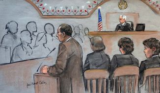 It this courtroom sketch, U.S. Attorney William Weinreb, left, is depicted delivering opening statements in front of U.S. District Judge George O'Toole Jr., right rear, on the first day of the federal death penalty trial of Boston Marathon bombing suspect Dzhokhar Tsarnaev, Wednesday, March 4, 2015, in Boston. (AP Photo/Jane Flavell Collins)