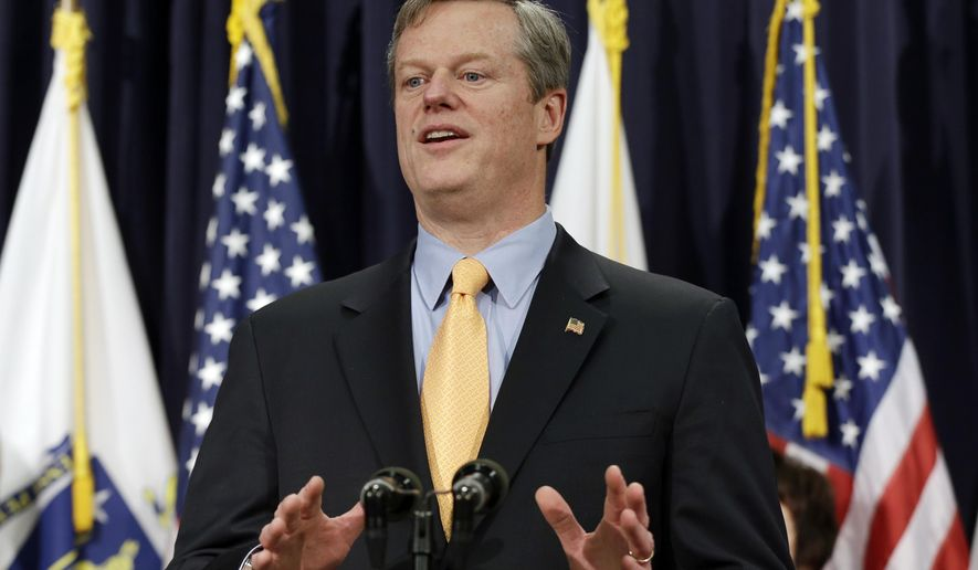 FILE - In this Feb. 20, 2015, file photo, Gov. Charlie Baker speaks to reporters at a news conference at the Statehouse in Boston. Baker faces the toughest hurdle of his brief tenure as governor Wednesday, March 4, 2015, when he unveils his proposed state budget for the fiscal year that begins July 1. (AP Photo/Elise Amendola, File)