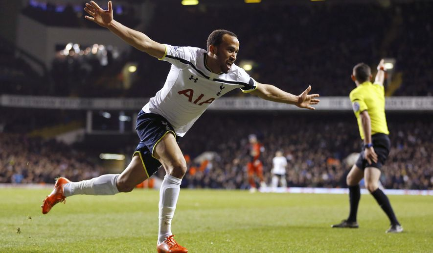 Tottenham's Andros Townsend celebrates scoring a goal during the English Premier League soccer match between Tottenham Hotspur and Swansea City at White Hart Lane stadium in London, Wednesday, March 4, 2015. (AP Photo/Kirsty Wigglesworth)